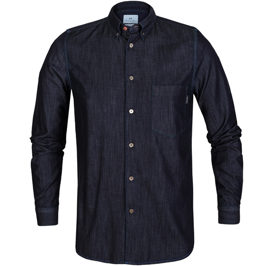 Tailored Fit Stitched Seam Denim Shirt-essentials-Fifth Avenue Menswear