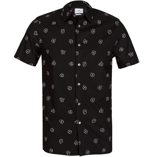 Classic Fit Outline Floral Print Shirt-holiday-Fifth Avenue Menswear