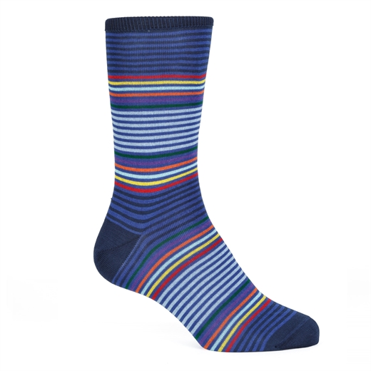 Rainbow Block Stripe Cotton Socks-new online-Fifth Avenue Menswear
