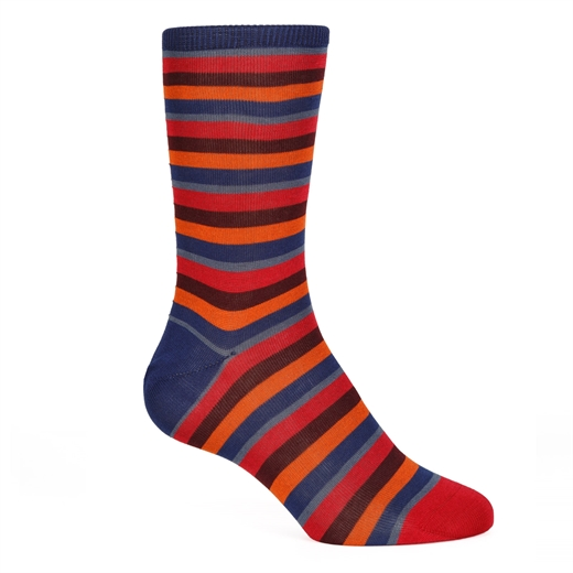 Hurbert Stripe Cotton Socks-new online-Fifth Avenue Menswear