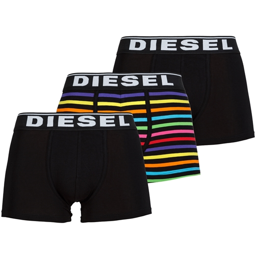 Damien 3 Pack Black & Multi-Stripe Stretch Cotton Trunks-new online-Fifth Avenue Menswear