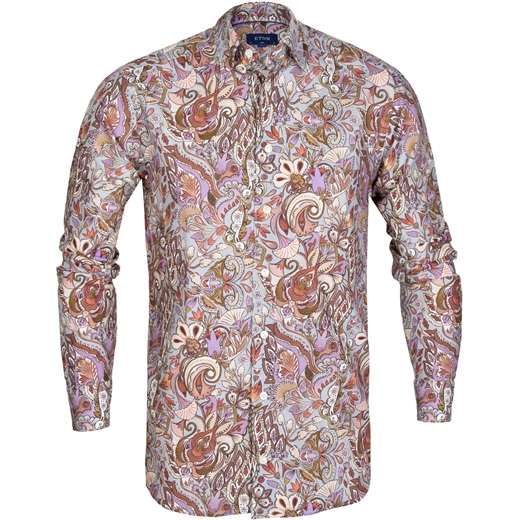 Slim Fit Painted Floral Print Shirt-new online-Fifth Avenue Menswear