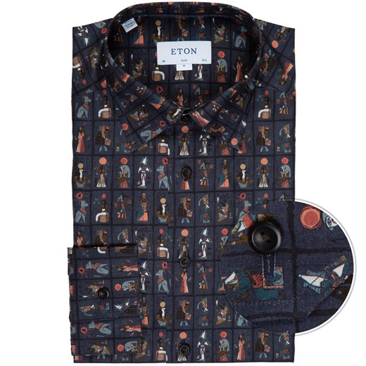 Slim Fit Egyptian Print Dress Shirt-new online-Fifth Avenue Menswear