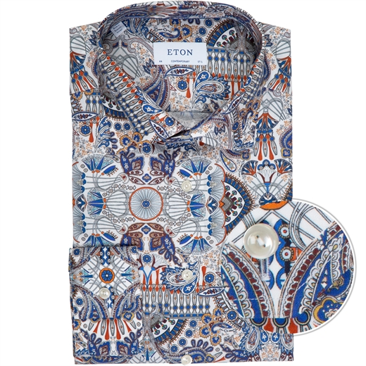 Contemporary Fit Paisley Print Dress Shirt-shirts-Fifth Avenue Menswear