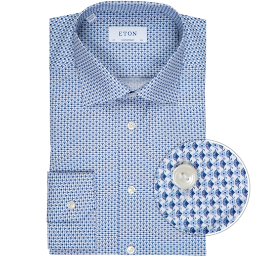Contemporary Fit Geometric Flower Print Dress Shirt-new online-Fifth Avenue Menswear