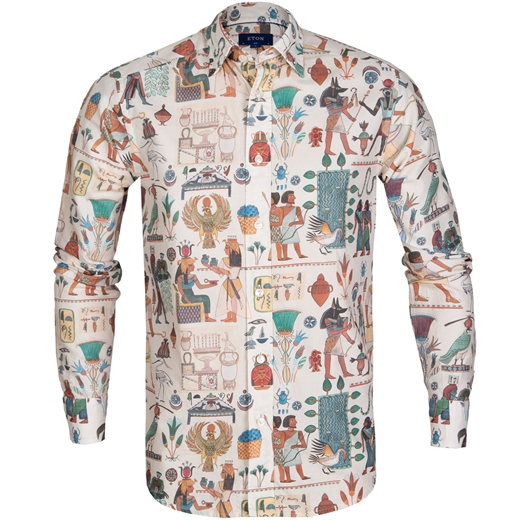 Slim Fit Egyptian Print Casual Shirt-new online-Fifth Avenue Menswear