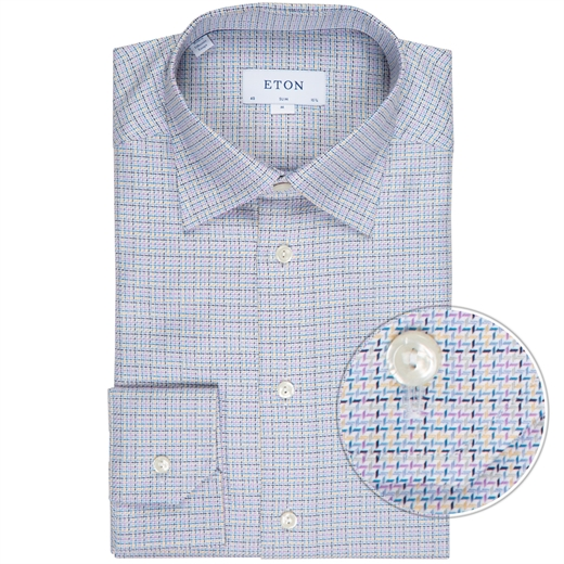 Slim Fit Textured Twill Check Dress Shirt-new online-Fifth Avenue Menswear