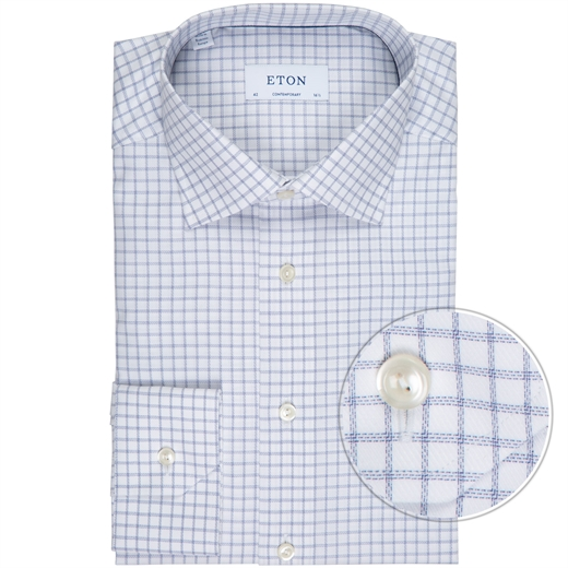 Contemporary Fit Twill Window Pane Check Dress Shirt-work-Fifth Avenue Menswear