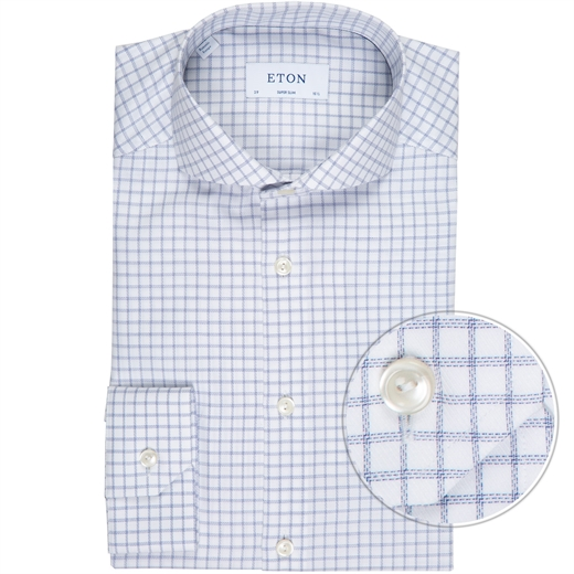 Super Slim Fit Twill Window Pane Check Dress Shirt-new online-Fifth Avenue Menswear