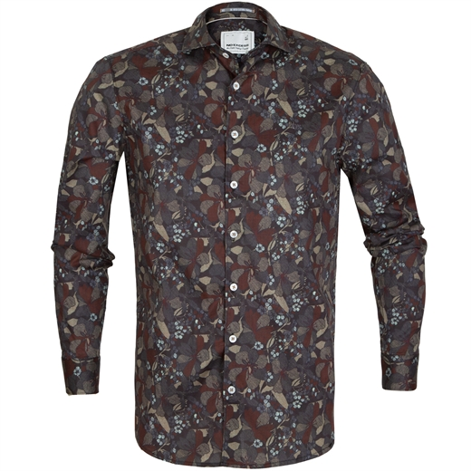 Floral Leaf Print Stretch Cotton Shirt-new online-Fifth Avenue Menswear