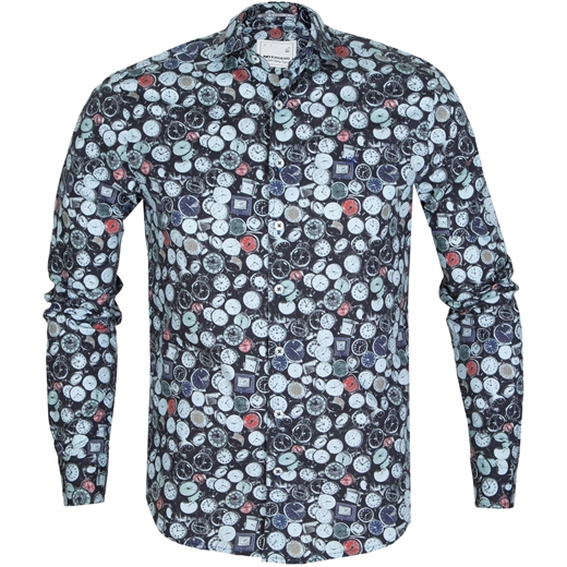 Clock Face Print Stretch Cotton Shirt-new online-Fifth Avenue Menswear