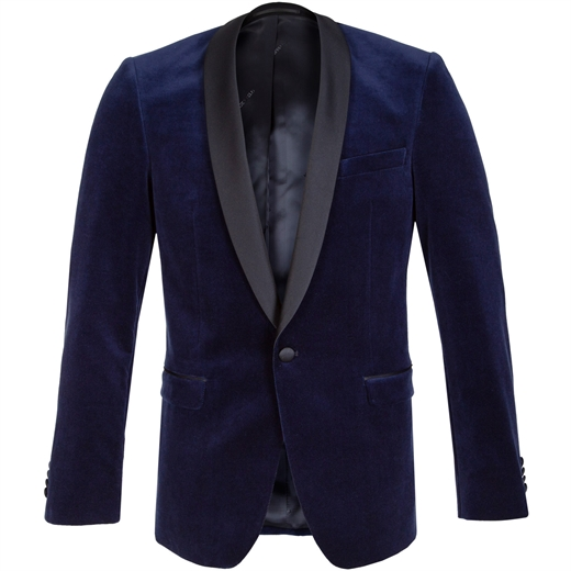 Tight Dark Blue Velvet Tuxedo-new online-Fifth Avenue Menswear