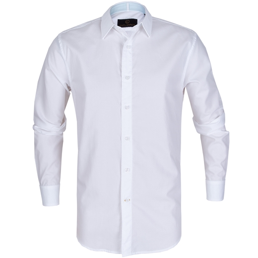Nigel White Dobby Spot Dress Shirt-shirts-Fifth Avenue Menswear