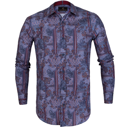Blake Paisley Over Geometric Print Casual Shirt-new online-Fifth Avenue Menswear