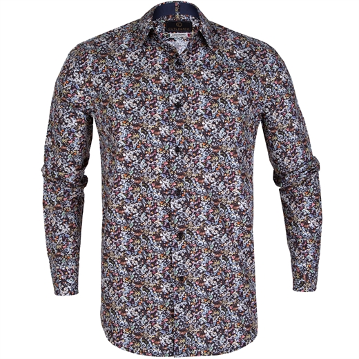"Nigel Floral ""Respect"" Cotton Casual Shirt-shirts-Fifth Avenue Menswear"