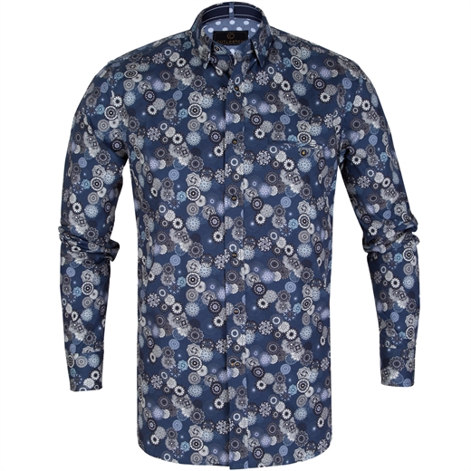 Colton Geometric Rosettes Print Stretch Cotton Shirt-new online-Fifth Avenue Menswear
