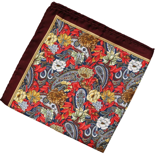 Floral & Paisley Silk Pocket Square-accessories-Fifth Avenue Menswear
