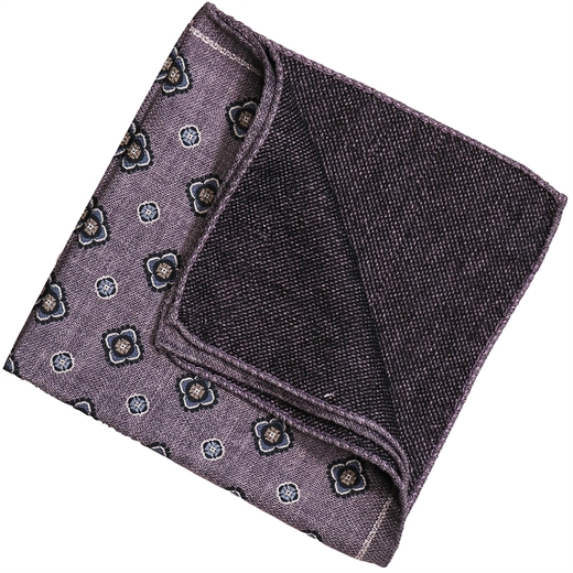 Geometric Pattern Double Sided Silk Pocket Square-accessories-Fifth Avenue Menswear