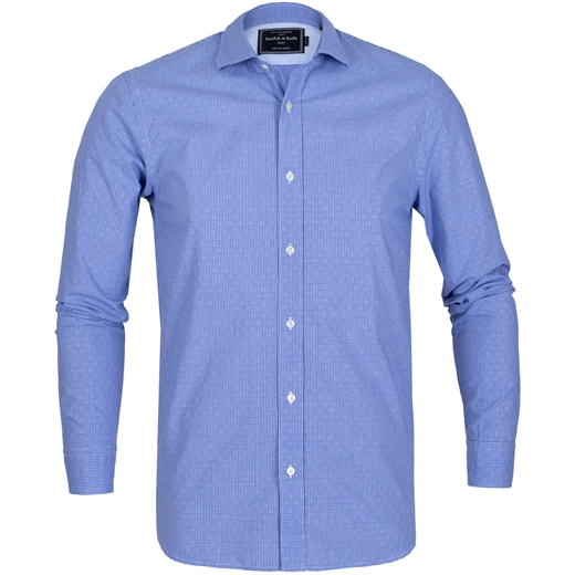 Regular Fit Micro Check Shirt-on sale-Fifth Avenue Menswear