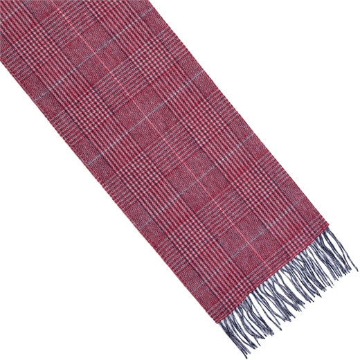 Oxblood Check Lambswool Scarf-new online-Fifth Avenue Menswear