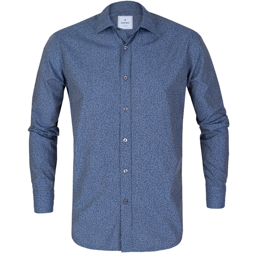 Slim Fit Micro Floral Print Chambray Shirt-new online-Fifth Avenue Menswear