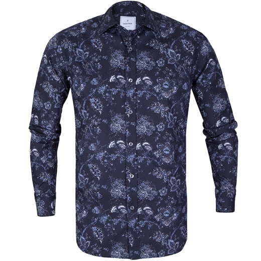 Slim Fit Big Floral Print Casual Shirt-new online-Fifth Avenue Menswear