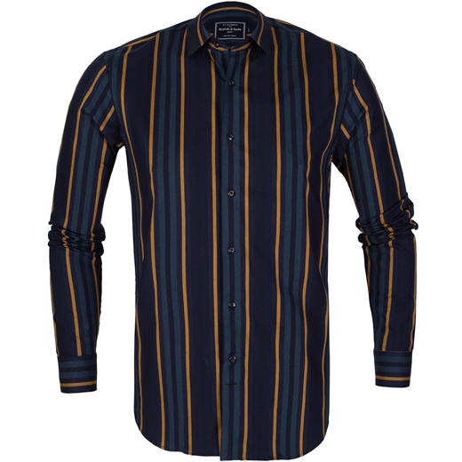 Slim Fit Stripe Cotton Shirt-shirts-Fifth Avenue Menswear