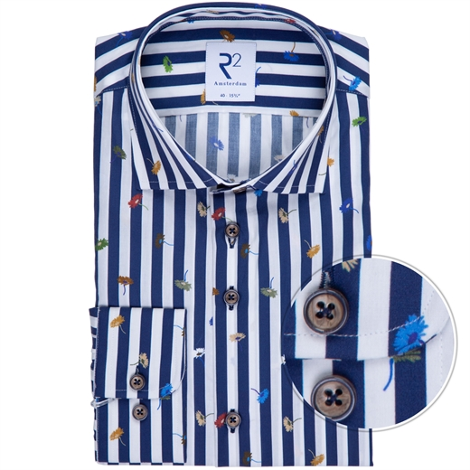 Luxury Cotton Bold Stripe & Flowers Print Dress Shirt-new online-Fifth Avenue Menswear