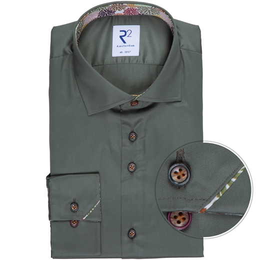 Olive Luxury Cotton Twill Dress Shirt-new online-Fifth Avenue Menswear