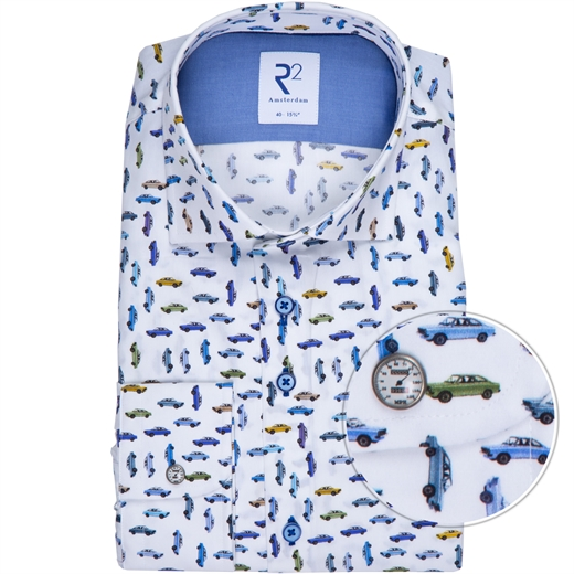 Luxury Cotton Cars Print Dress Shirt-new online-Fifth Avenue Menswear
