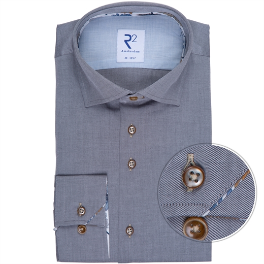 Grey Luxury Cotton Twill Dress Shirt-new online-Fifth Avenue Menswear