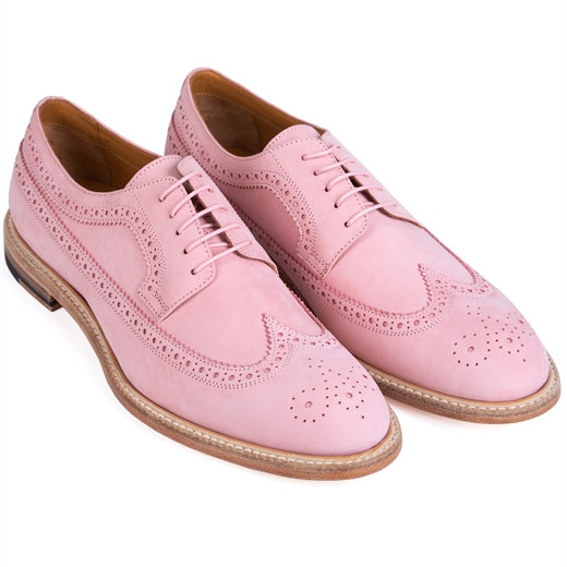 Adam Pink Nubuck Leather Brogue Shoes-new online-Fifth Avenue Menswear