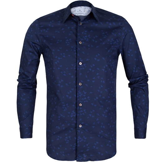 Tailored Fit Paper Darts Print Stretch Cotton Shirt-new online-Fifth Avenue Menswear