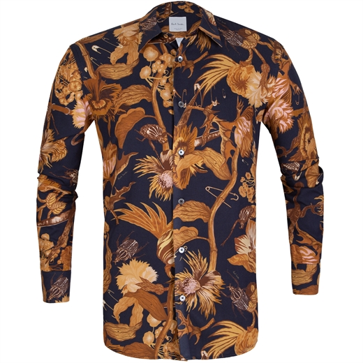 Tailored Fit Botanical Beetle Print Shirt-new online-Fifth Avenue Menswear