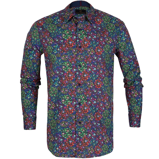 Seth Small Floral Stretch Cotton Shirt-on sale-Fifth Avenue Menswear