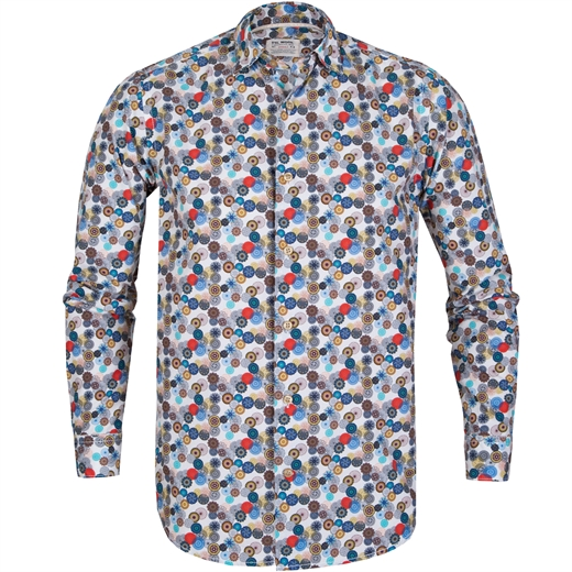 Treviso Multi Circle Print Casual Cotton Shirt-new online-Fifth Avenue Menswear