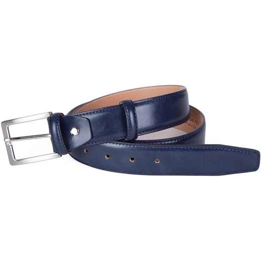 Luxury Leather Stitched Edge Dress Belt-accessories-Fifth Avenue Menswear
