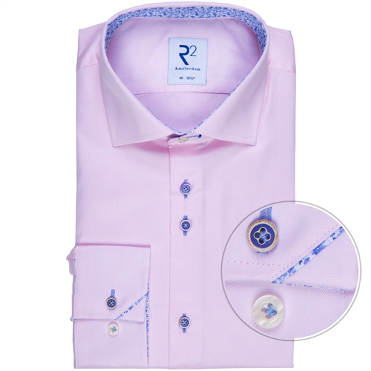 Pink Luxury Cotton Twill Shirt With Floral Trim-new online-Fifth Avenue Menswear