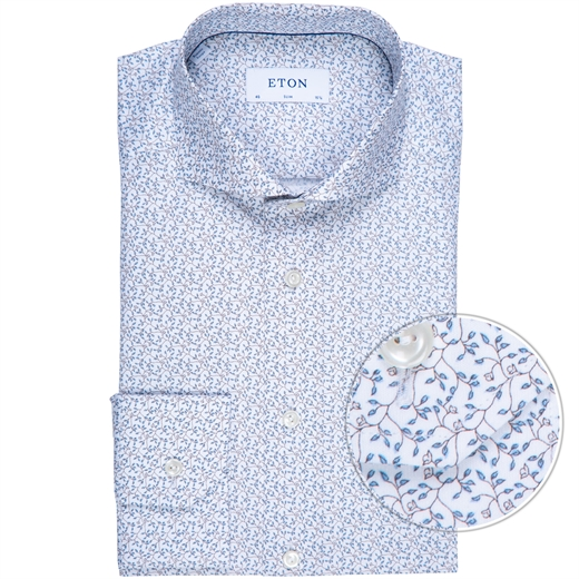 Slim Fit Fine Line Floral Print Shirt-new online-Fifth Avenue Menswear