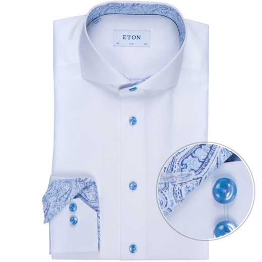 Slim Fit Luxury Cotton Twill Shirt With Floral Trim-new online-Fifth Avenue Menswear