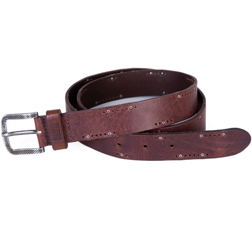 Punched Leather Belt With Stud Detail-new online-Fifth Avenue Menswear