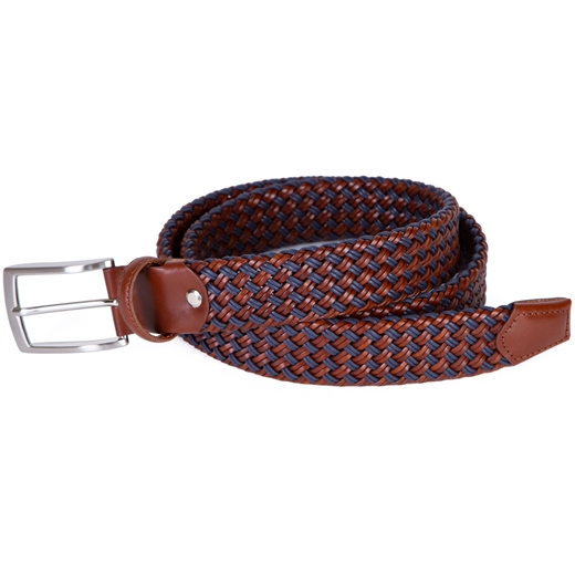 Two-tone Woven Leather Belt-new online-Fifth Avenue Menswear