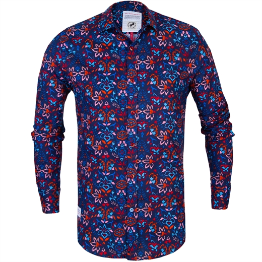 Flower Embroidery Print Stretch Cotton Shirt-new online-Fifth Avenue Menswear