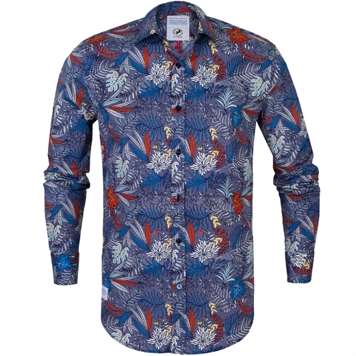 Check Leaves Print Stretch Cotton Shirt-new online-Fifth Avenue Menswear