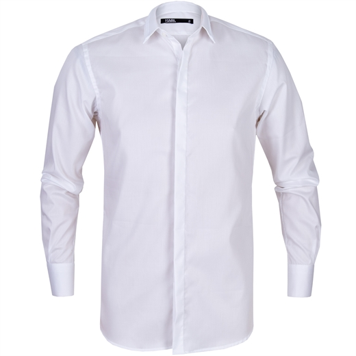 Luxury White Cotton Dress Shirt With Collar Detail-new online-Fifth Avenue Menswear