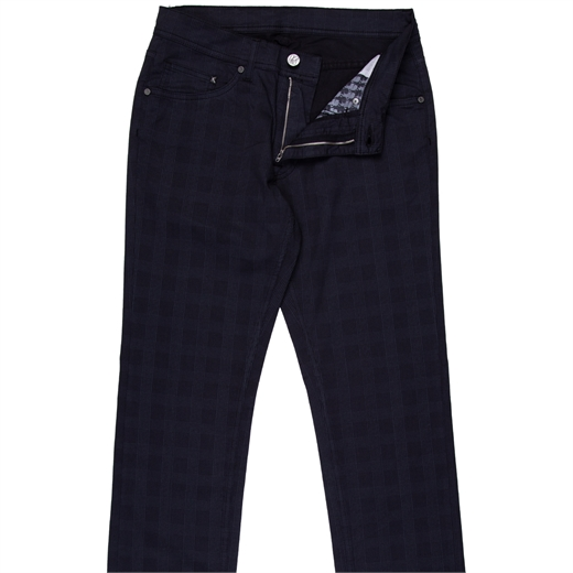 Luxury Stretch Cotton Check Dress Trousers-new online-Fifth Avenue Menswear