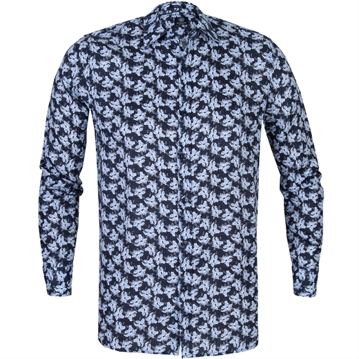 Painted Flower Print Linen Casual Shirt-new online-Fifth Avenue Menswear