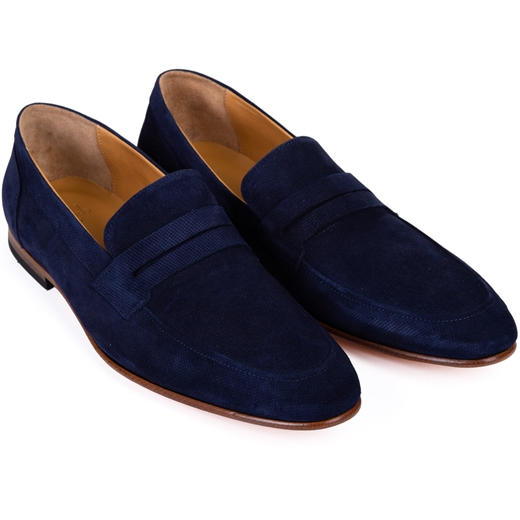 Bellinger Navy Suede Loafer-new online-Fifth Avenue Menswear