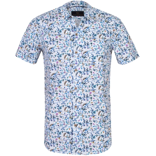 Roman Floral Stretch Cotton Shirt-new online-Fifth Avenue Menswear