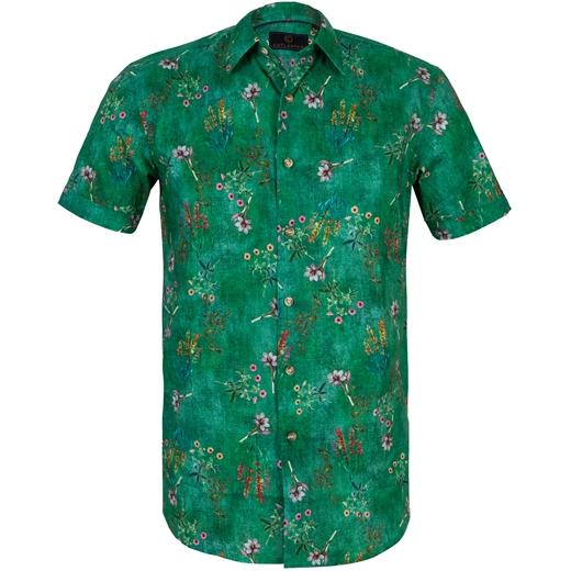 Brent Green Floral Casual Shirt-new online-Fifth Avenue Menswear